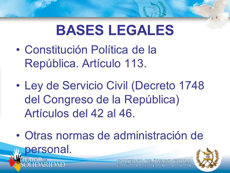 BASES LEGALES Constitución Política de la República. Artículo 113.
