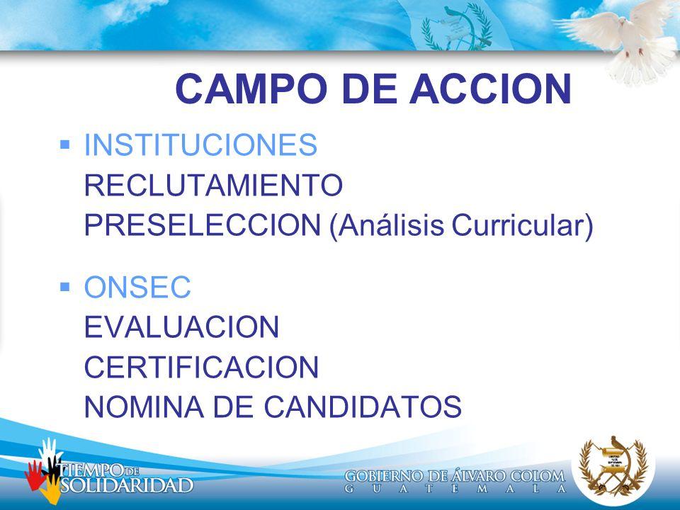 CAMPO DE ACCION INSTITUCIONES RECLUTAMIENTO