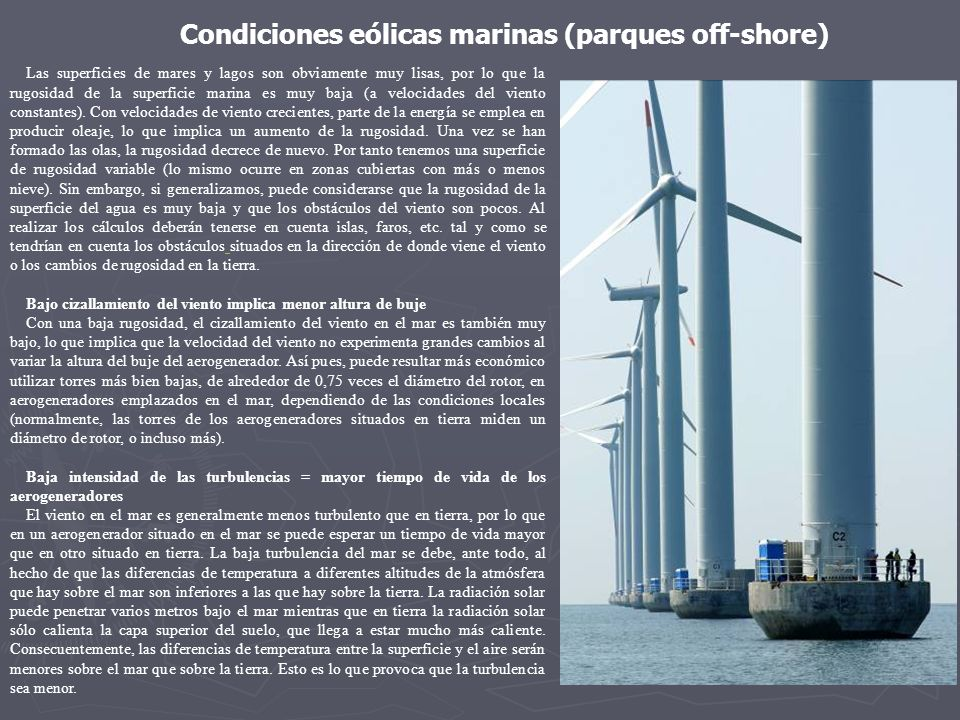 Condiciones eólicas marinas (parques off-shore)