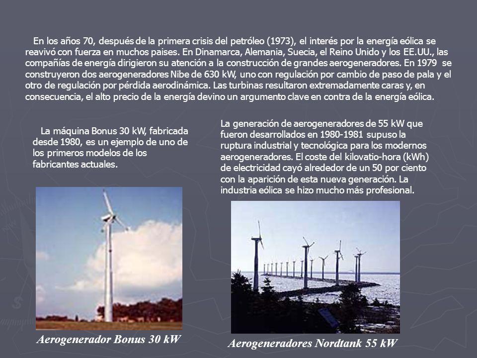 Aerogenerador Bonus 30 kW Aerogeneradores Nordtank 55 kW