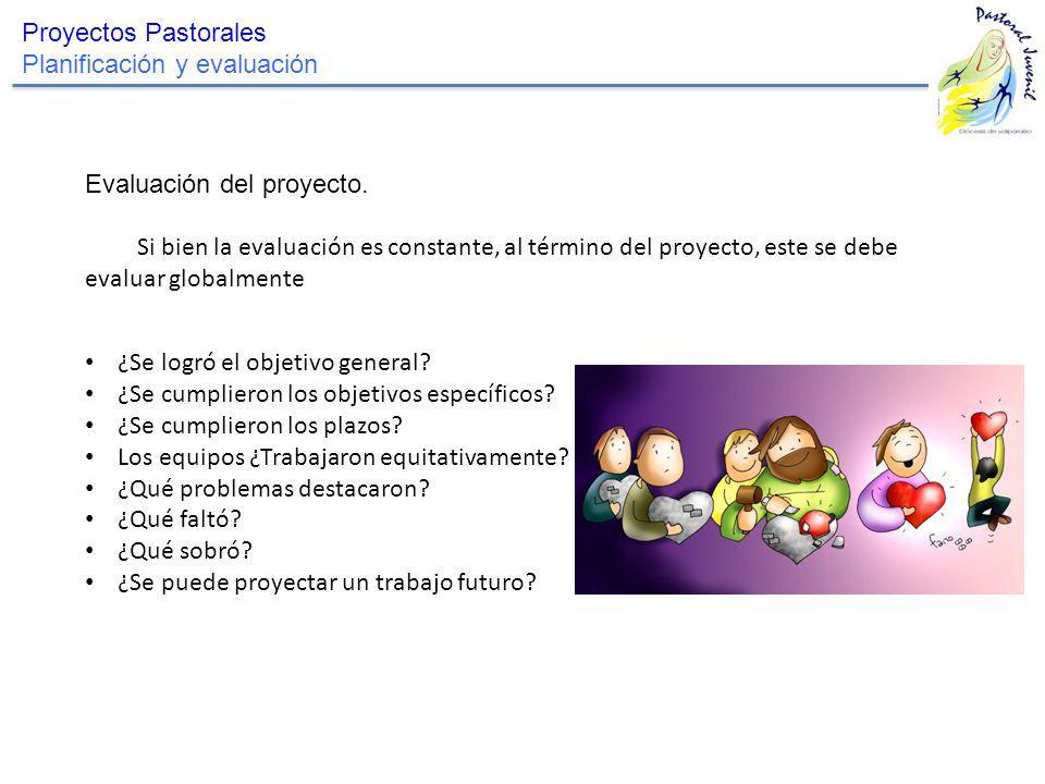 Proyectos Pastorales Planificación y evaluación. Evaluación del proyecto.