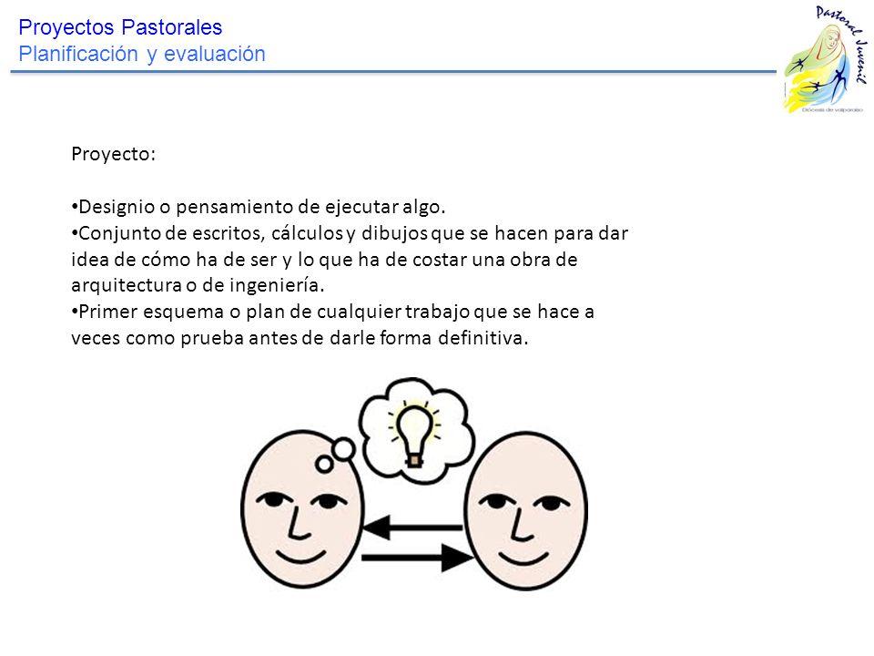 Proyectos Pastorales Planificación y evaluación. Proyecto: Designio o pensamiento de ejecutar algo.