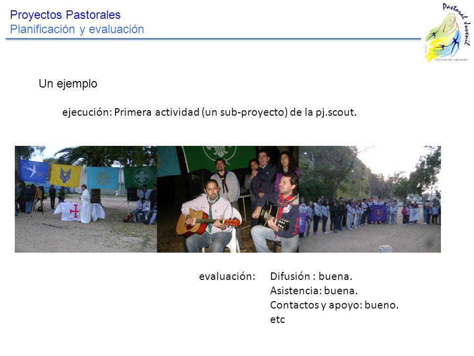 Proyectos Pastorales Planificación y evaluación. Un ejemplo. ejecución: Primera actividad (un sub-proyecto) de la pj.scout.
