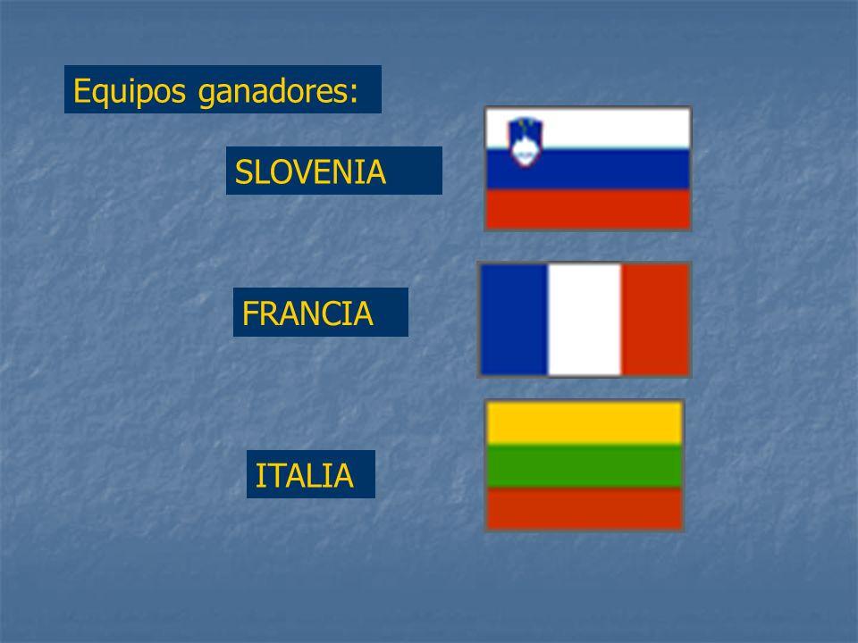 Equipos ganadores: SLOVENIA FRANCIA ITALIA