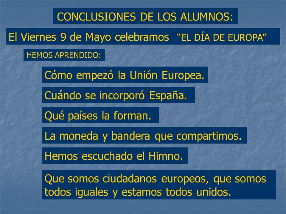 CONCLUSIONES DE LOS ALUMNOS: