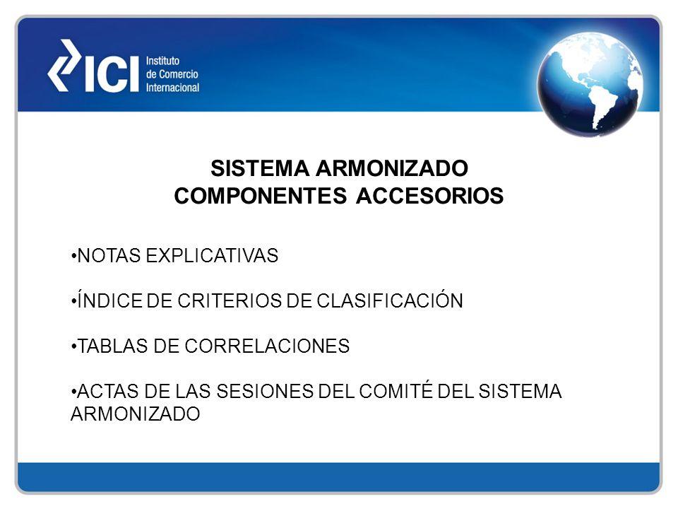 SISTEMA ARMONIZADO COMPONENTES ACCESORIOS