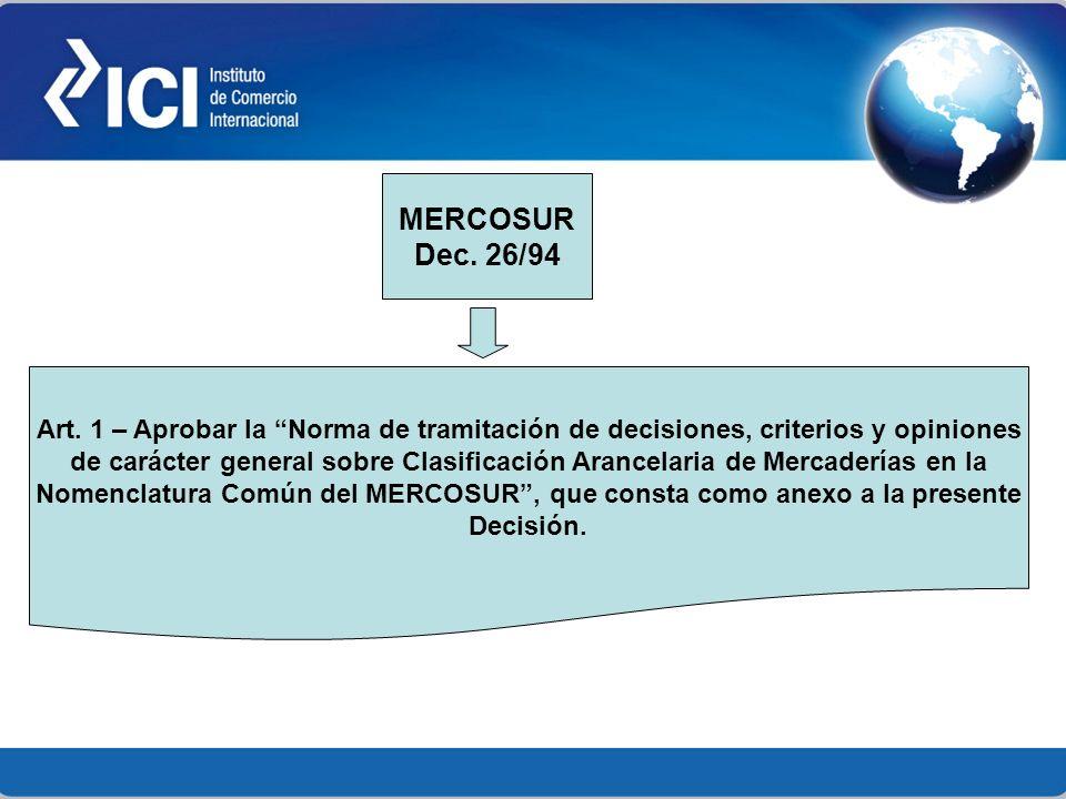 Nomenclatura Común del MERCOSUR , que consta como anexo a la presente