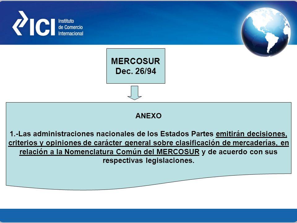MERCOSUR Dec. 26/94. ANEXO. 1.-Las administraciones nacionales de los Estados Partes emitirán decisiones,