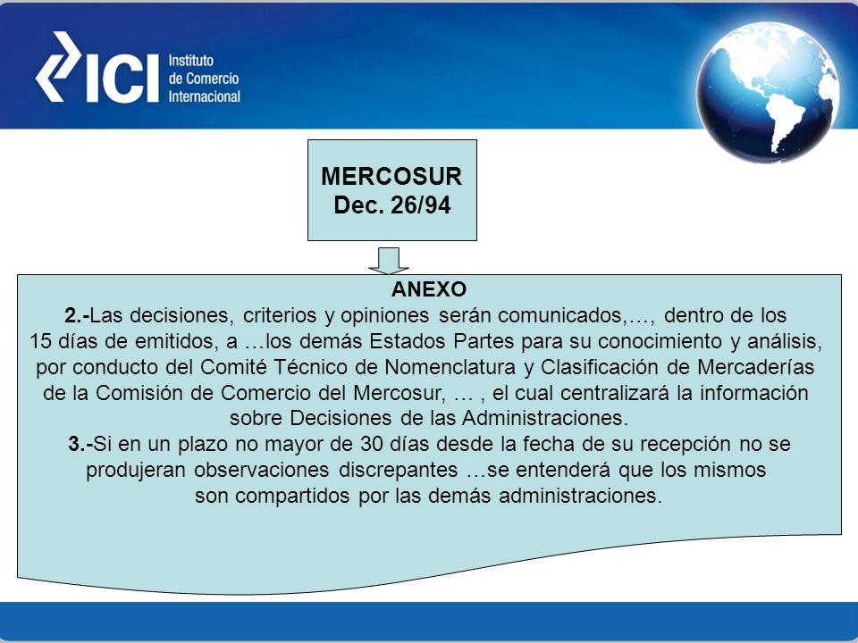 MERCOSUR Dec. 26/94. ANEXO. 2.-Las decisiones, criterios y opiniones serán comunicados,…, dentro de los.