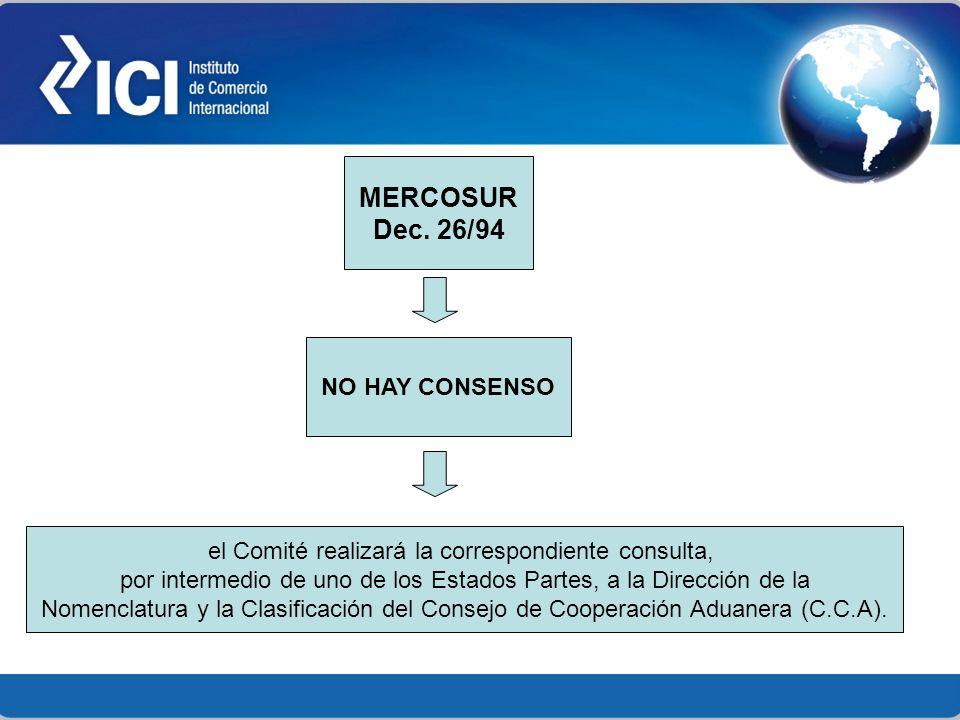 MERCOSUR Dec. 26/94 NO HAY CONSENSO