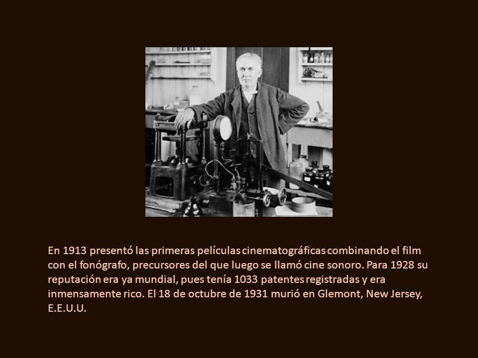 En 1913 presentó las primeras películas cinematográficas combinando el film con el fonógrafo, precursores del que luego se llamó cine sonoro.