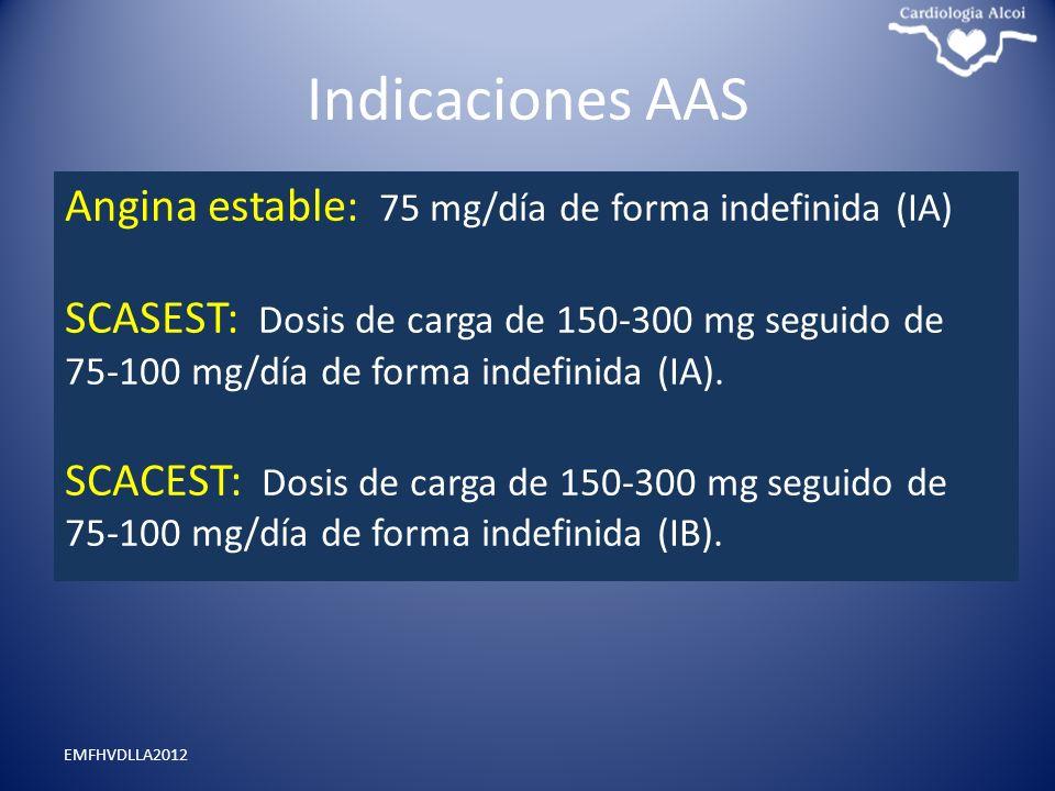 Indicaciones AAS Angina estable: 75 mg/día de forma indefinida (IA)