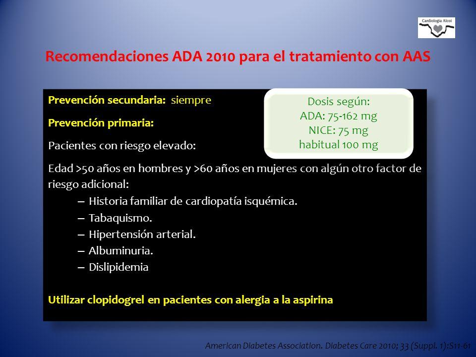 Recomendaciones ADA 2010 para el tratamiento con AAS