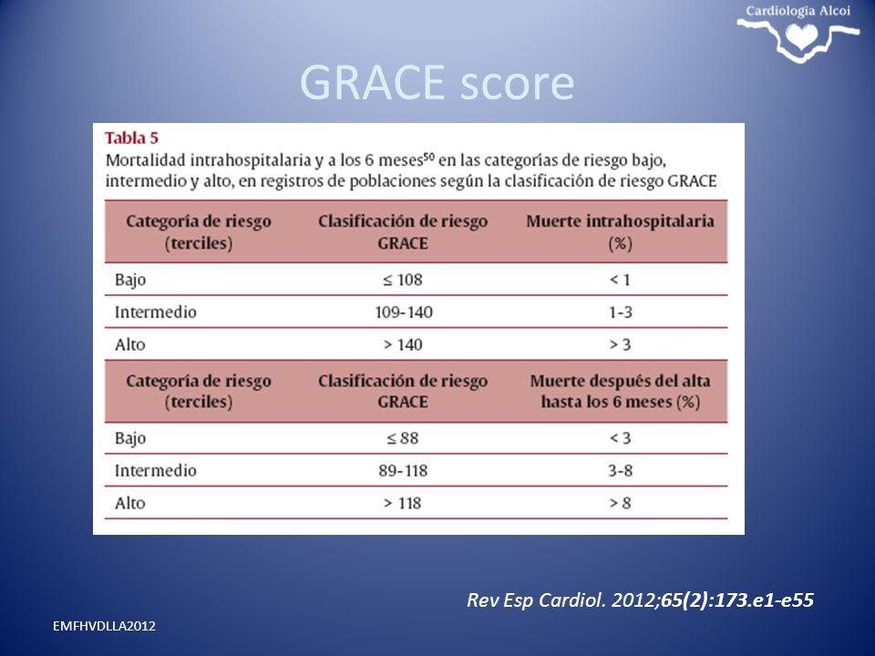 GRACE score Rev Esp Cardiol. 2012;65(2):173.e1-e55 EMFHVDLLA2012