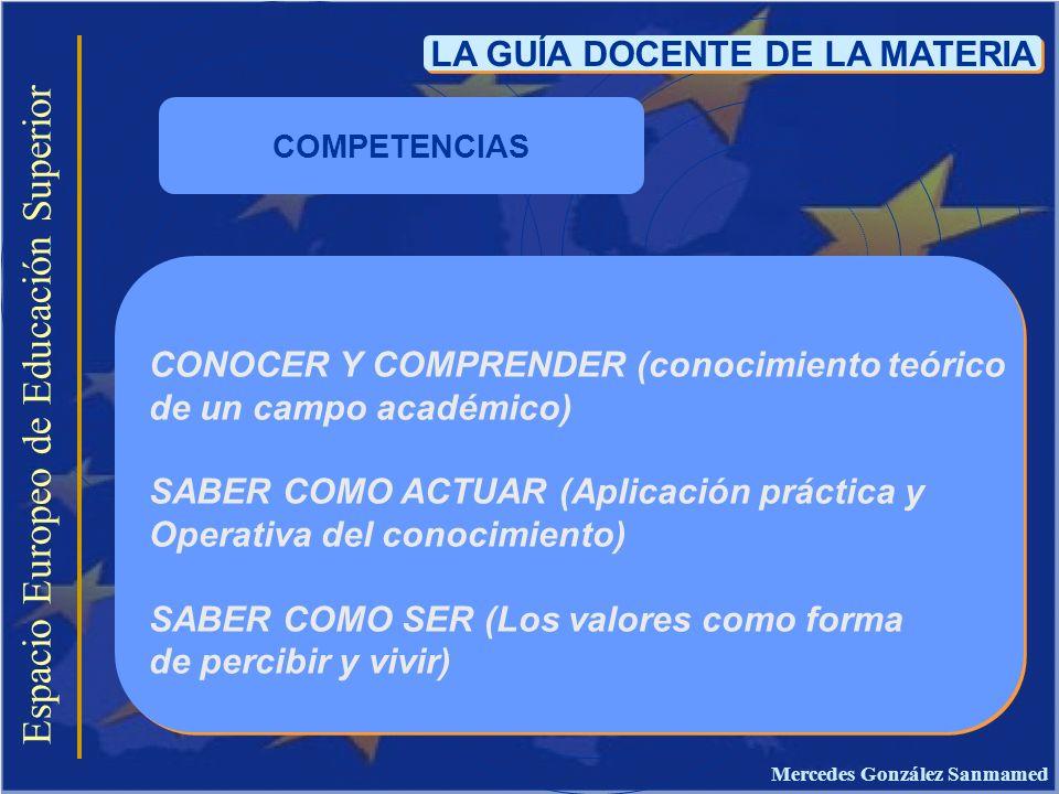 LA GUÍA DOCENTE DE LA MATERIA Mercedes González Sanmamed