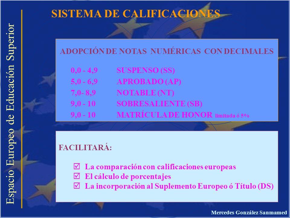 ADOPCIÓN DE NOTAS NUMÉRICAS CON DECIMALES Mercedes González Sanmamed