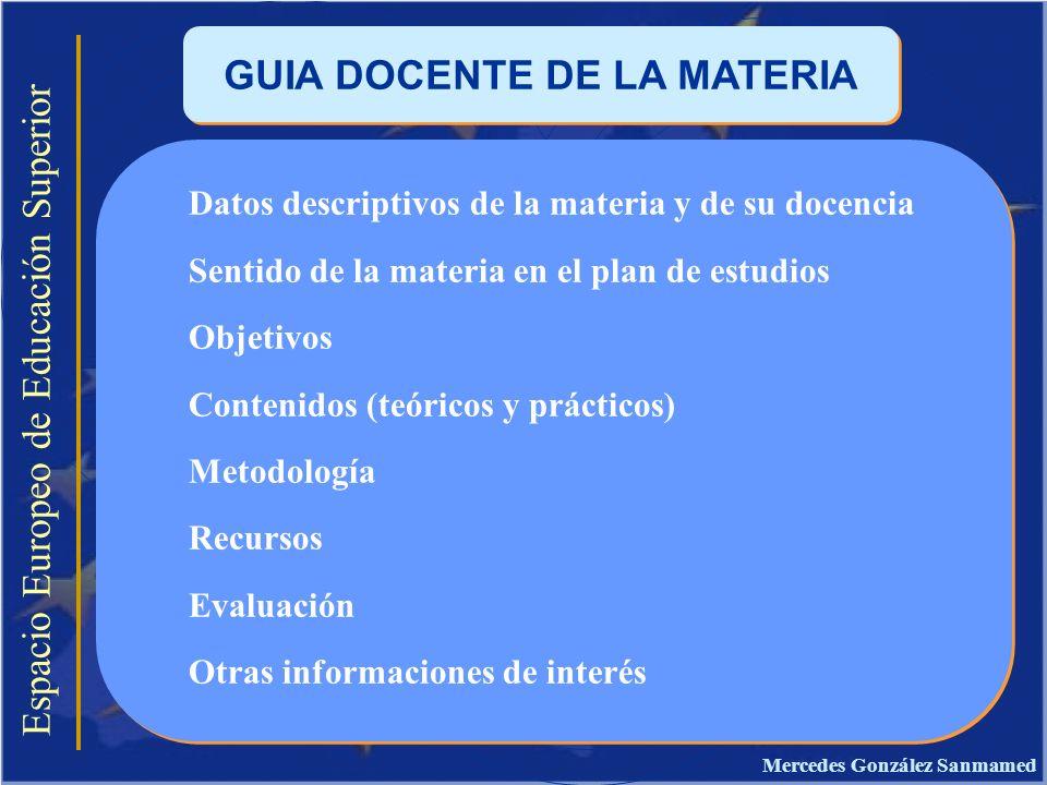 GUIA DOCENTE DE LA MATERIA Mercedes González Sanmamed