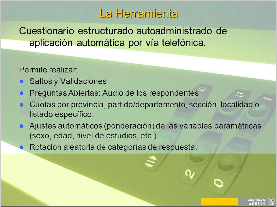La Herramienta Cuestionario estructurado autoadministrado de aplicación automática por vía telefónica.