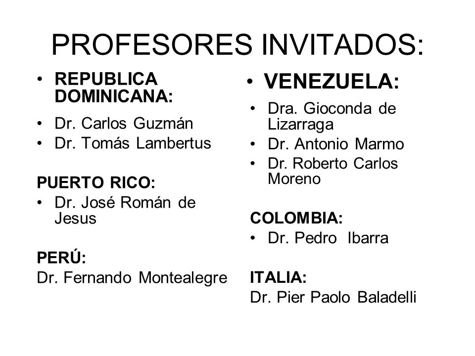 PROFESORES INVITADOS:
