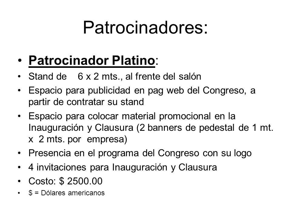 Patrocinadores: Patrocinador Platino: