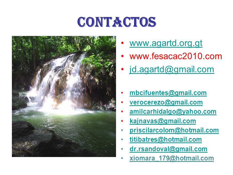 contactos www.agartd.org.gt www.fesacac2010.com jd.agartd@gmail.com