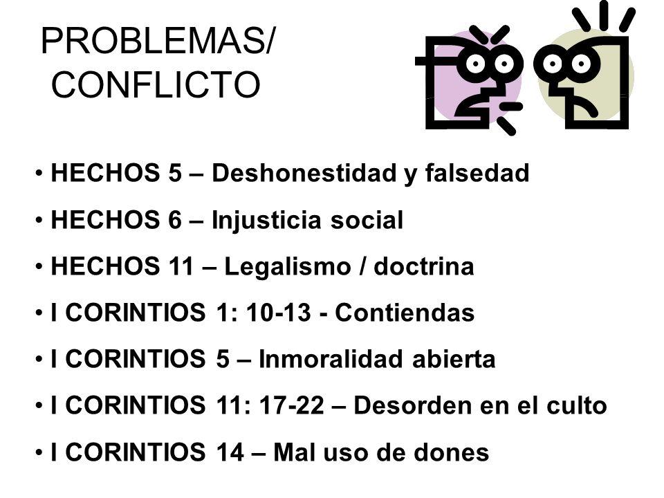 PROBLEMAS/ CONFLICTO HECHOS 5 – Deshonestidad y falsedad