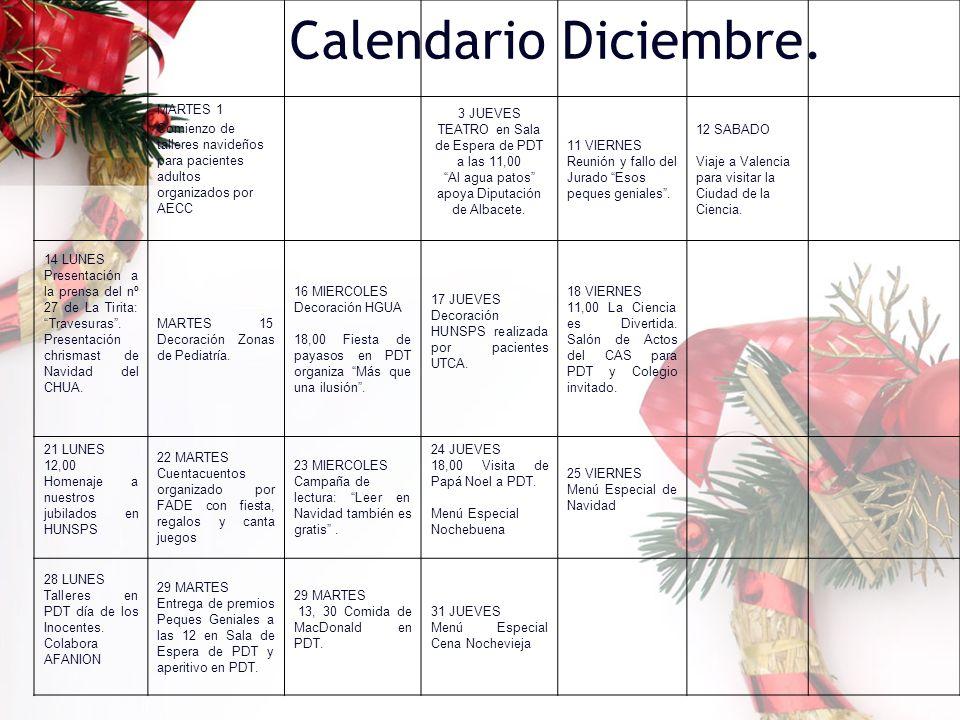 Calendario Diciembre. MARTES 1