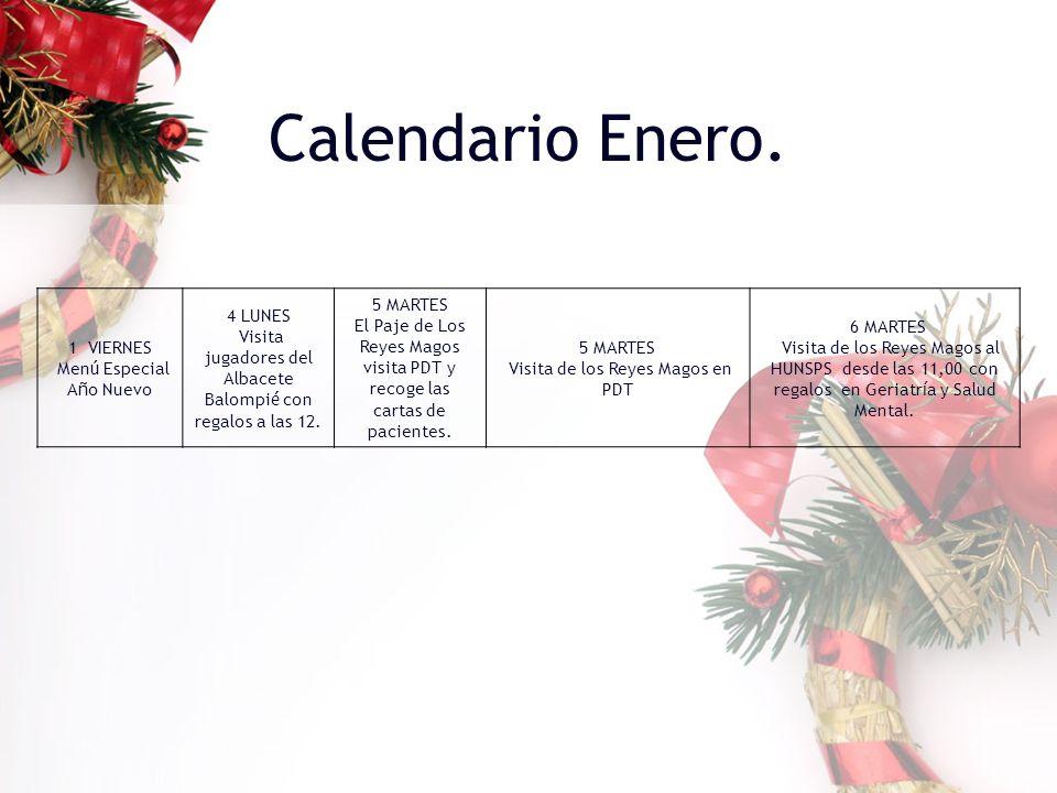 Calendario Enero. 1 VIERNES Menú Especial Año Nuevo 4 LUNES