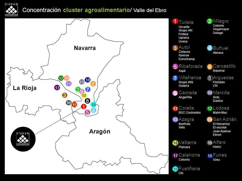 Concentración cluster agroalimentario/ Valle del Ebro