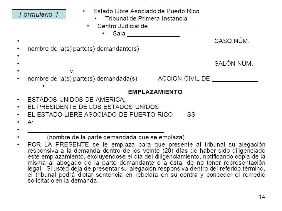 Formulario 1 Estado Libre Asociado de Puerto Rico