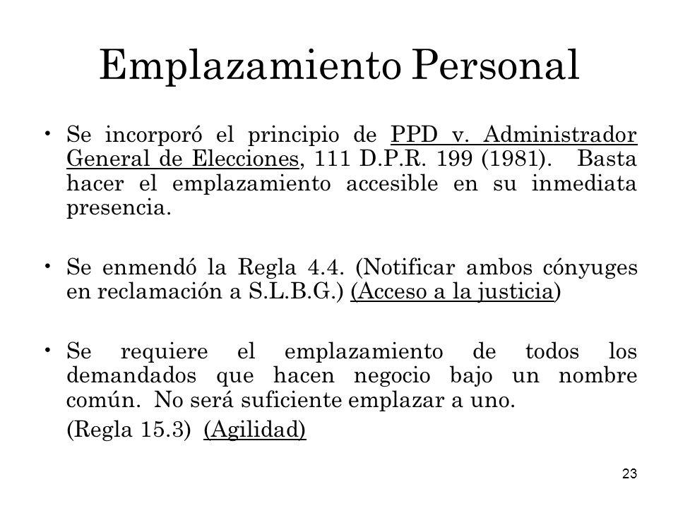 Emplazamiento Personal