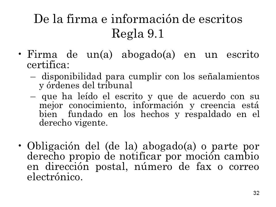 De la firma e información de escritos Regla 9.1
