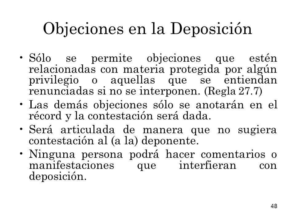 Objeciones en la Deposición