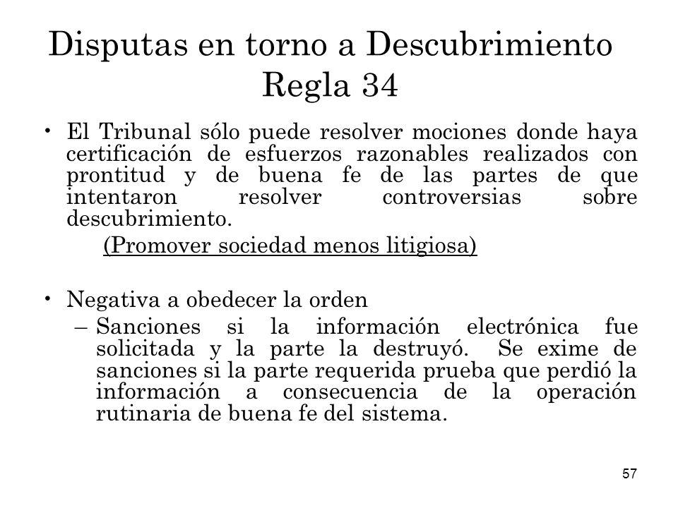 Disputas en torno a Descubrimiento Regla 34
