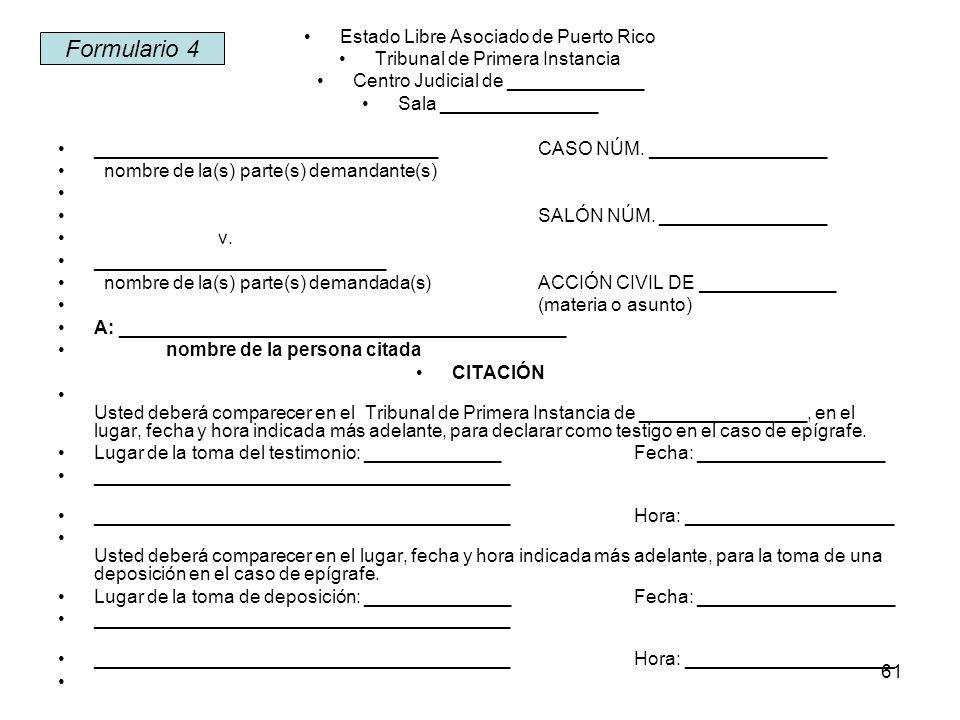 Formulario 4 Estado Libre Asociado de Puerto Rico