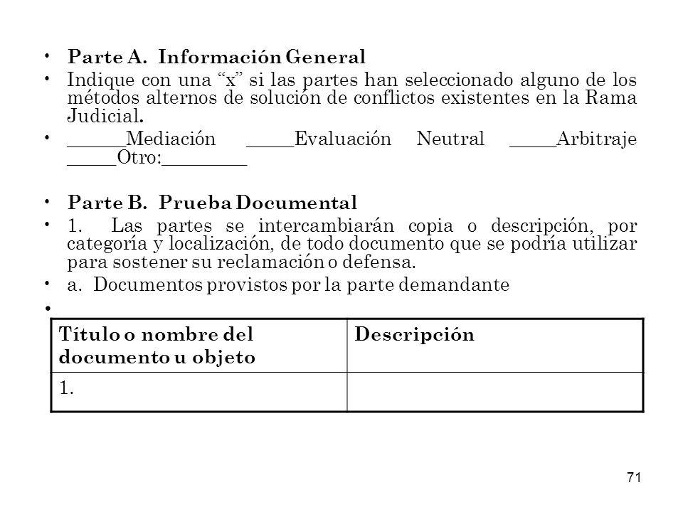 Parte A. Información General