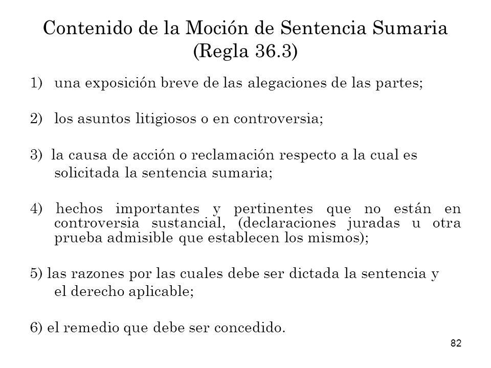 Contenido de la Moción de Sentencia Sumaria (Regla 36.3)