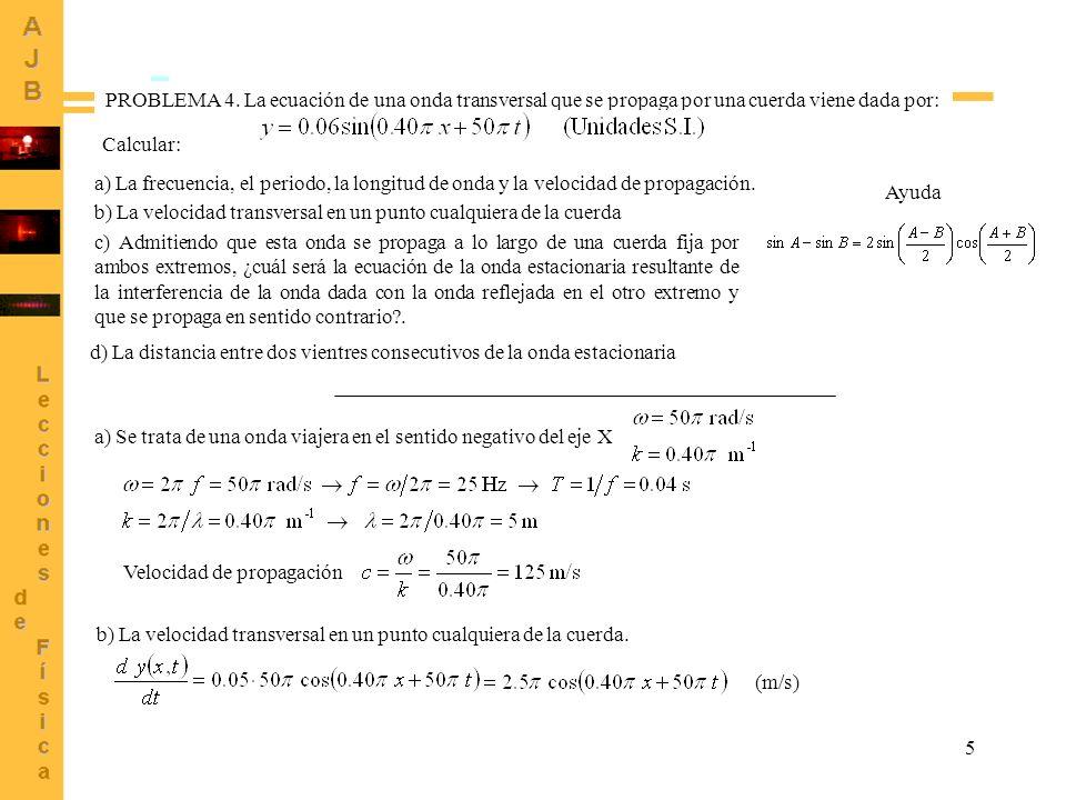 PROBLEMA 4. La ecuación de una onda transversal que se propaga por una cuerda viene dada por: