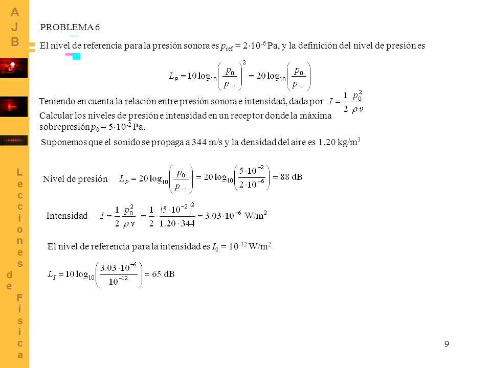 PROBLEMA 6 El nivel de referencia para la presión sonora es pref = 210-6 Pa, y la definición del nivel de presión es.
