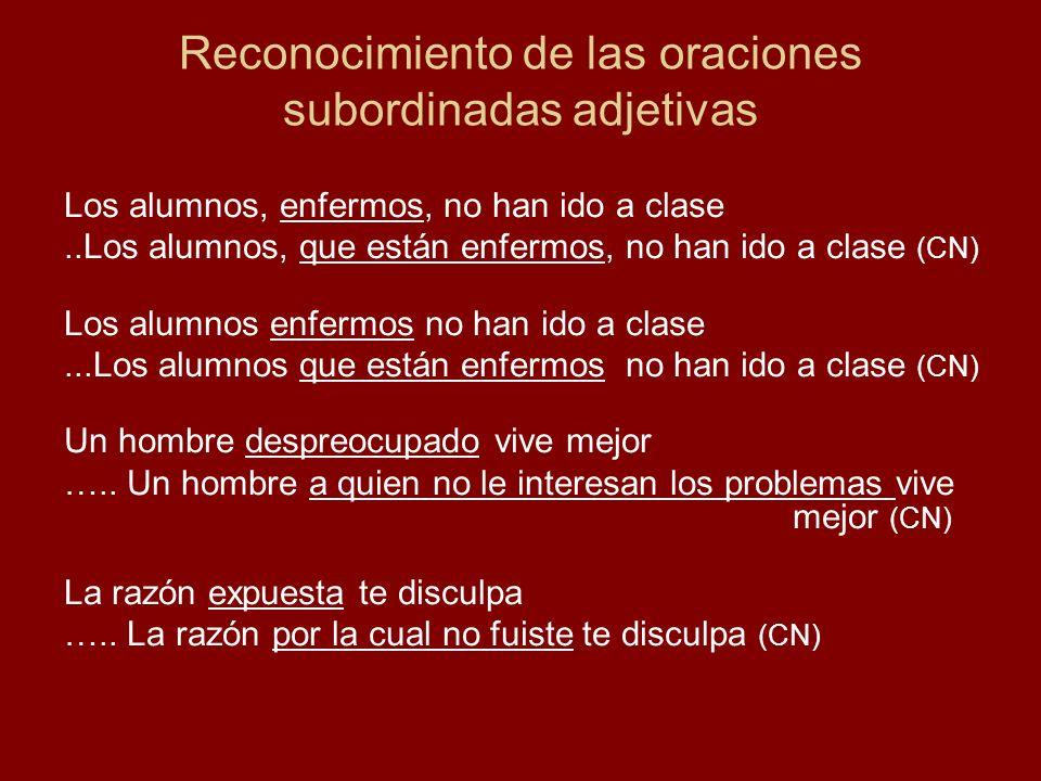 Reconocimiento de las oraciones subordinadas adjetivas