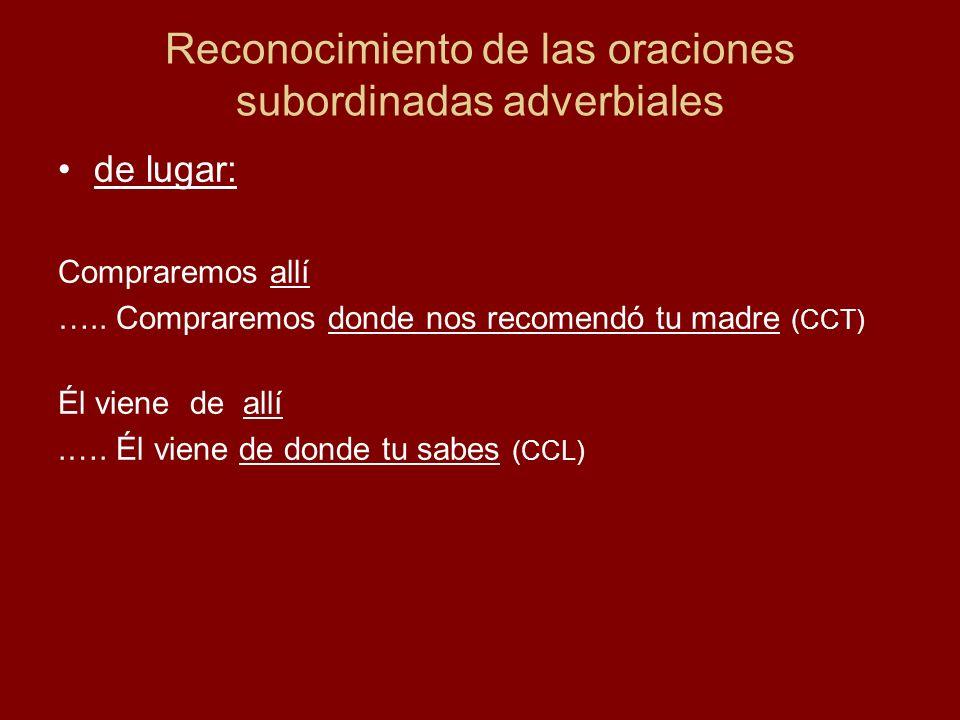 Reconocimiento de las oraciones subordinadas adverbiales