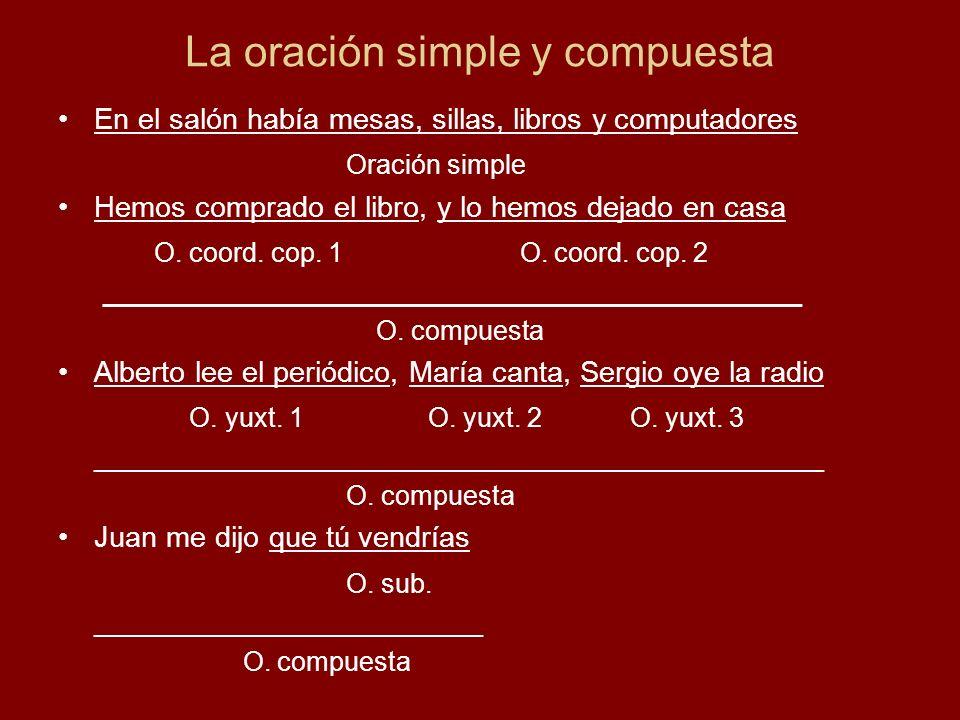 La oración simple y compuesta