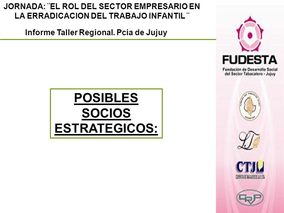 Informe Taller Regional. Pcia de Jujuy POSIBLES SOCIOS ESTRATEGICOS: