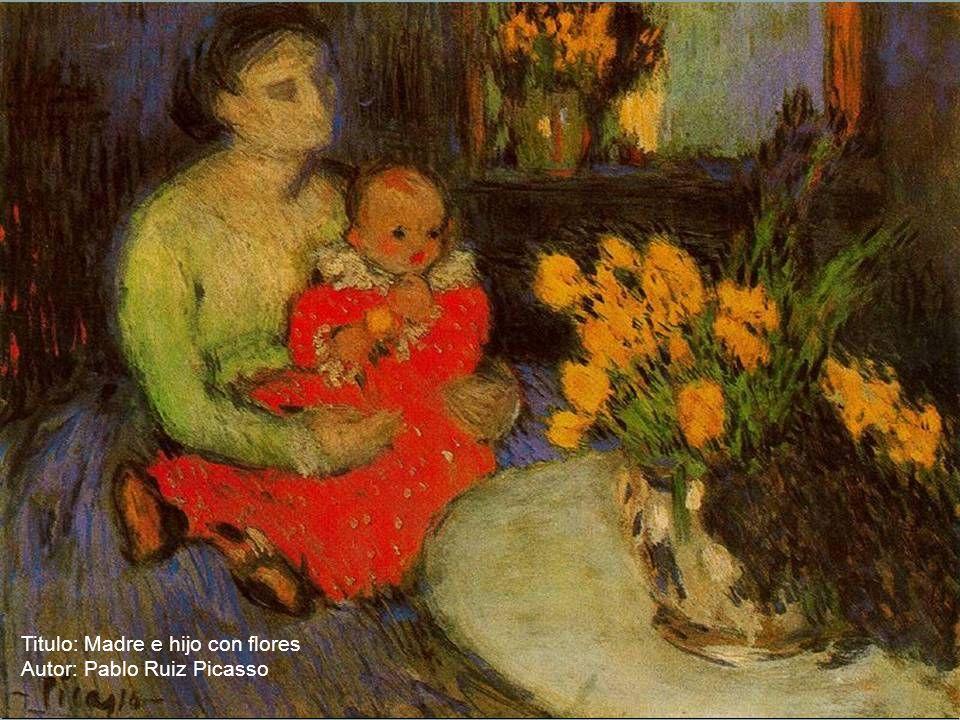 Titulo: Madre e hijo con flores
