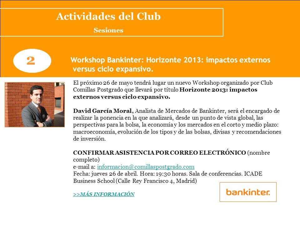 Actividades del Club Sesiones. 2. Workshop Bankinter: Horizonte 2013: impactos externos. versus ciclo expansivo.
