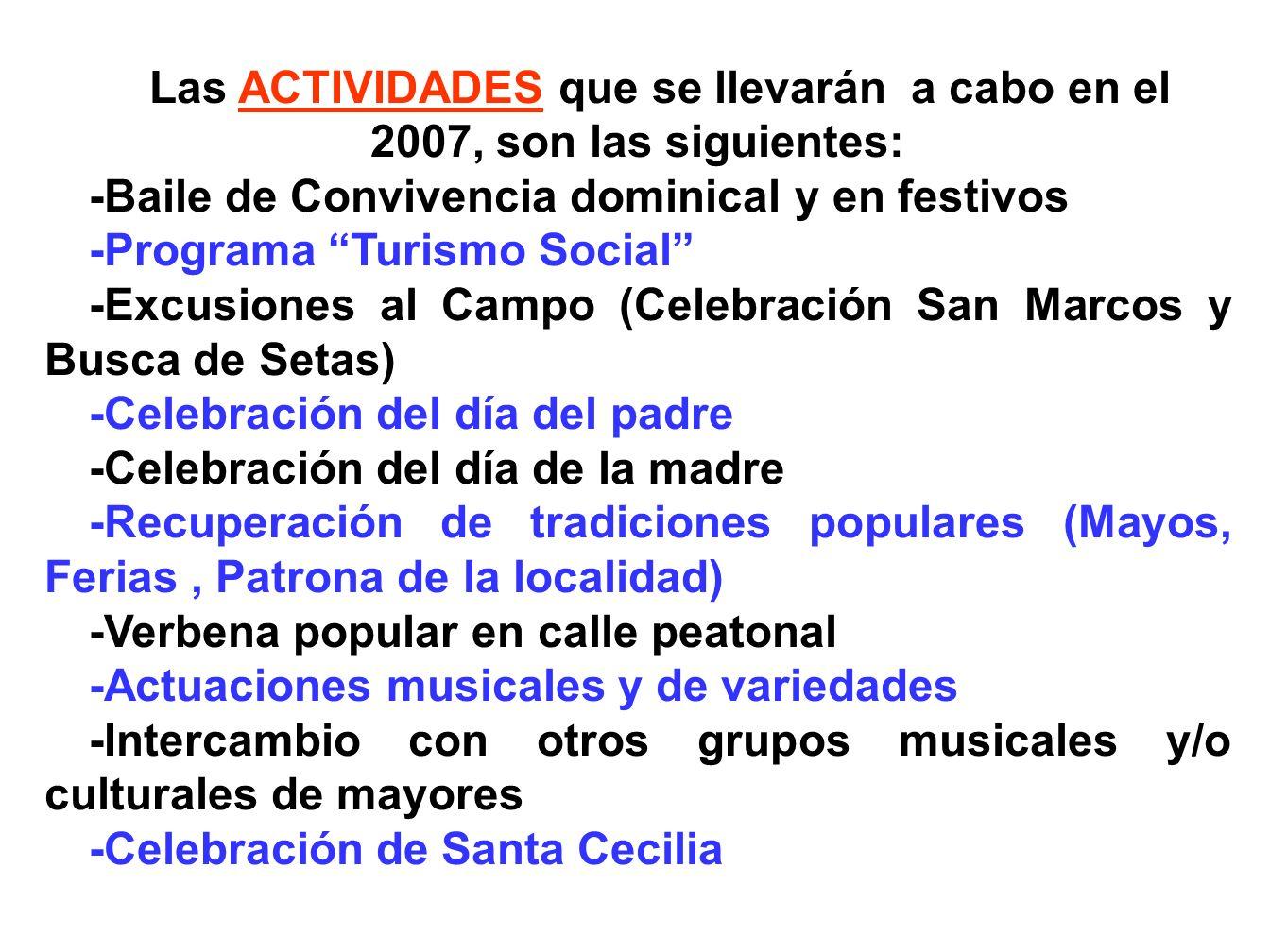 Las ACTIVIDADES que se llevarán a cabo en el 2007, son las siguientes: