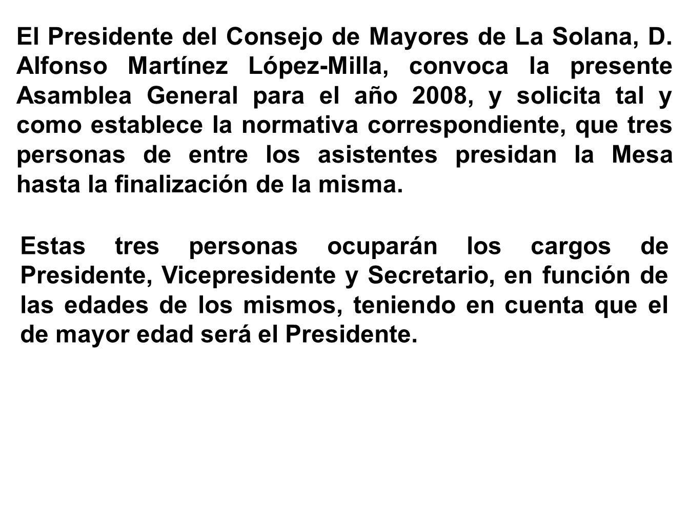 El Presidente del Consejo de Mayores de La Solana, D
