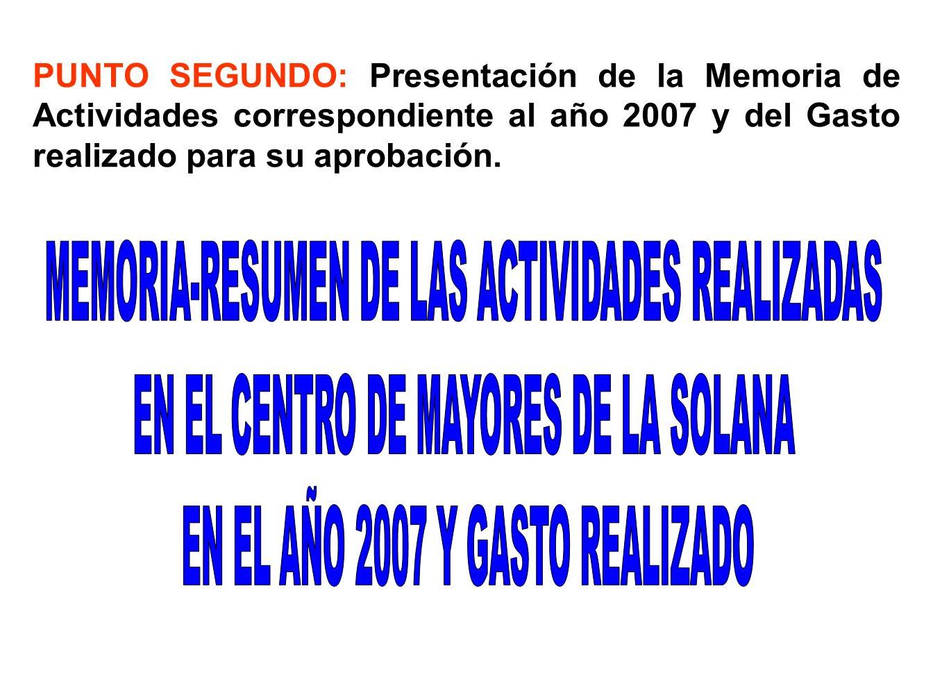 MEMORIA-RESUMEN DE LAS ACTIVIDADES REALIZADAS