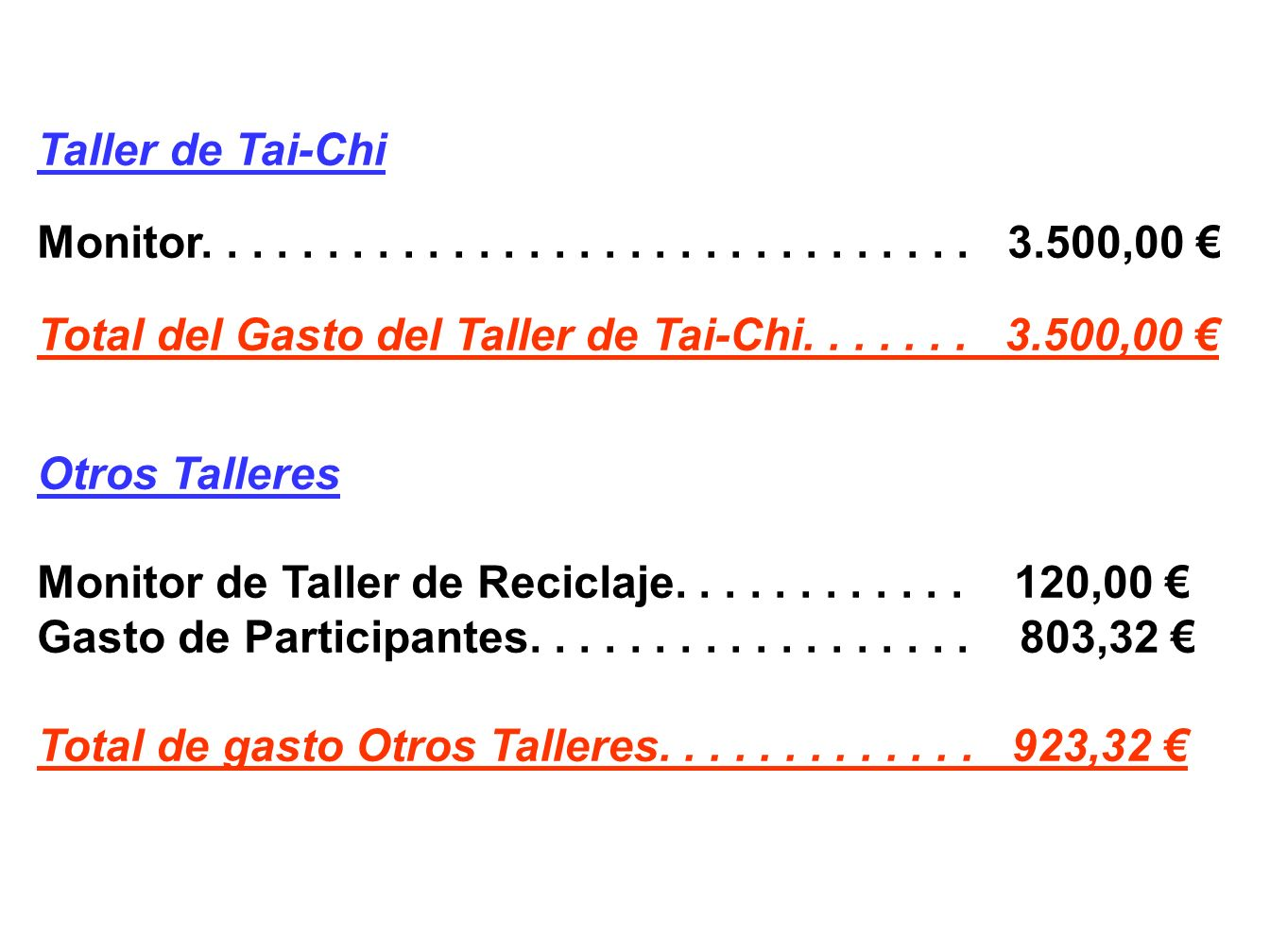 Taller de Tai-Chi Monitor. . . . . . . . . . . . . . . . . . . . . . . . . . . . . . . 3.500,00 €