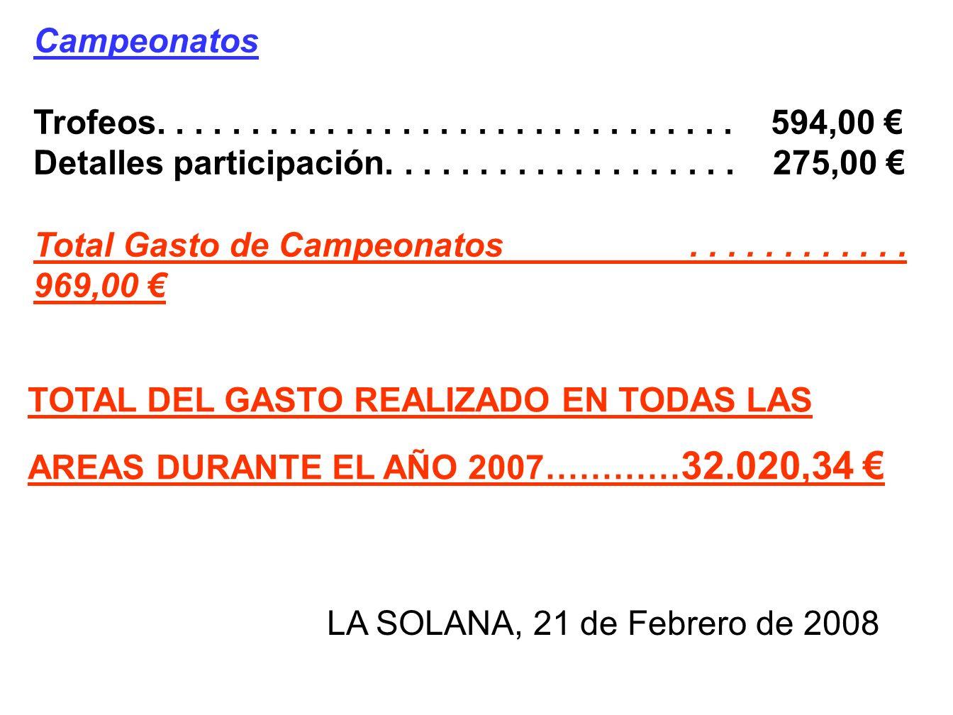 Campeonatos Trofeos. . . . . . . . . . . . . . . . . . . . . . . . . . . . . . . 594,00 €